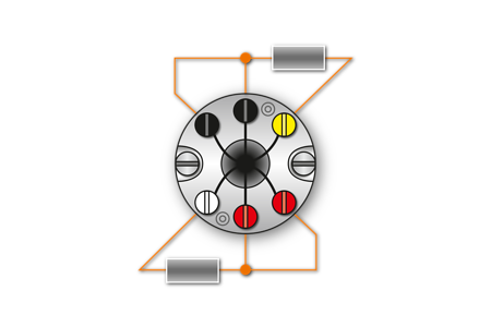 Fig. 6: 2xPt100/3-Conductor circuit - Marking: black/yellow, red/white