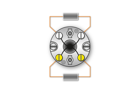Fig. 5: 2xPt100/2-Conductor circuit - Marking: white/yellow